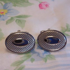 Vintage Silver Tone Textured Cuff Links